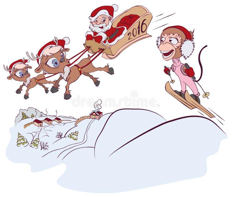 Święty Mikołaj 2016 i renifer spotykający małpi symbol małpi narciarstwo ilustracja wektor