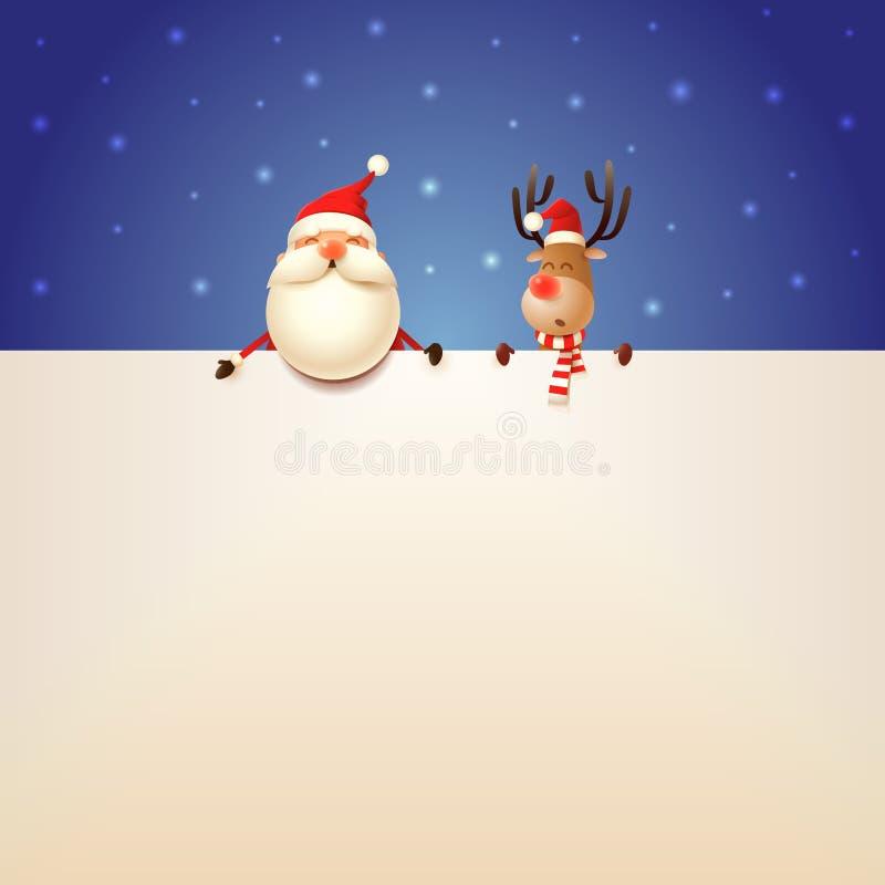 Święty Mikołaj i renifer z billboardem na błękitnym śnieżnym tle ilustracja wektor