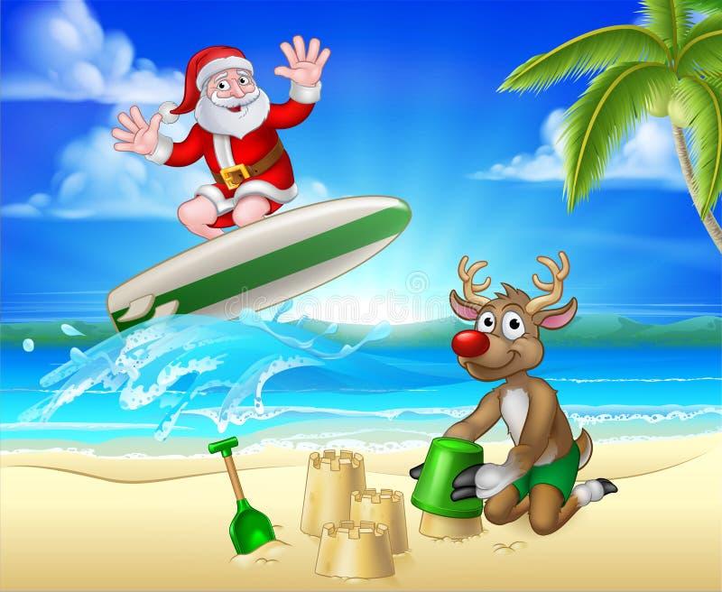 Święty Mikołaj i renifera bożych narodzeń Plażowa scena ilustracji