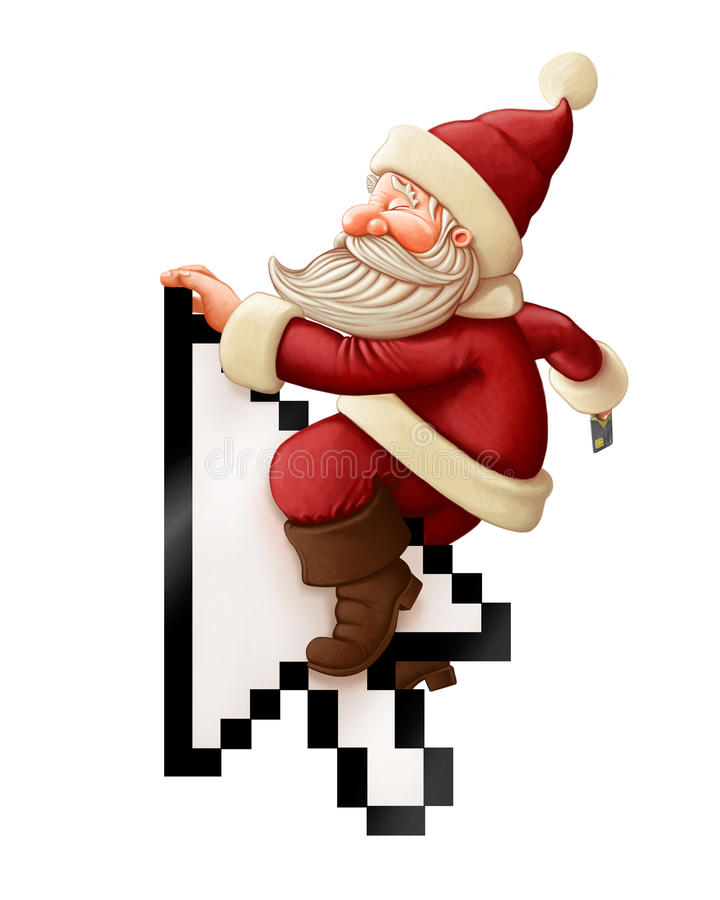 Święty Mikołaj i zakupy linia royalty ilustracja