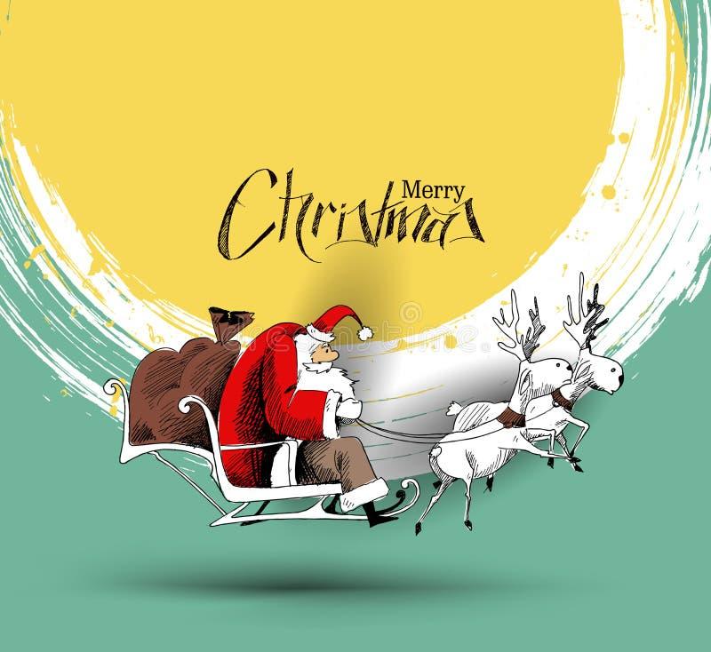 Święty Mikołaj jedzie reniferowego sania latanie w wektorowym backgroun ilustracji