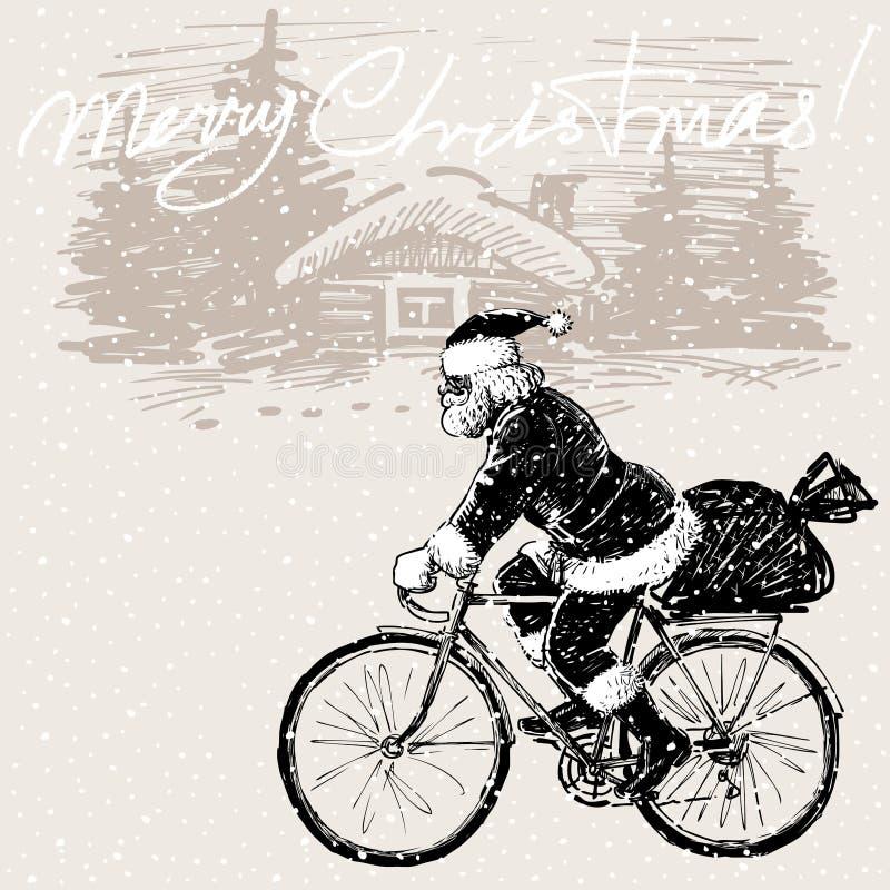 Święty Mikołaj jedzie rower ilustracji