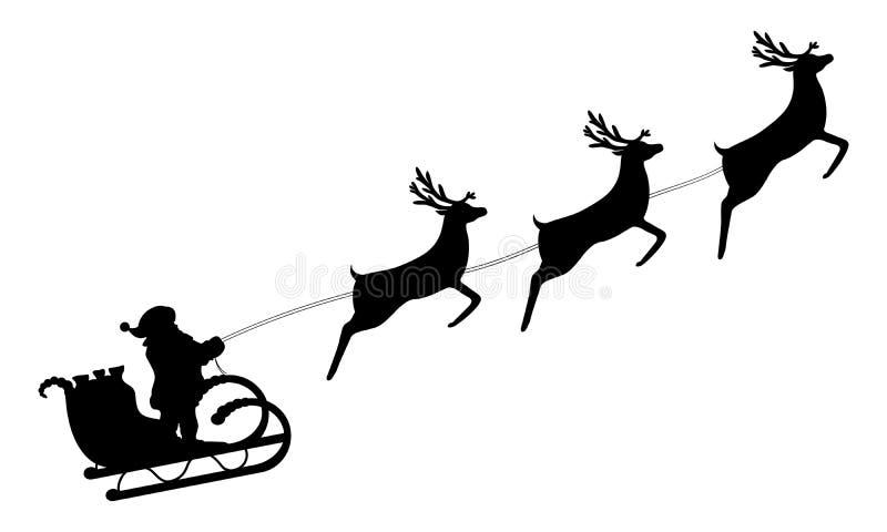 Święty Mikołaj jedzie w saniu w nicielnicie na reniferze royalty ilustracja