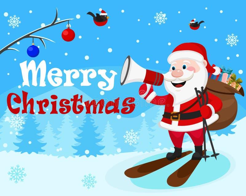 Święty Mikołaj jest narciarstwem z torbą prezenty i róg na zima lasu tle royalty ilustracja