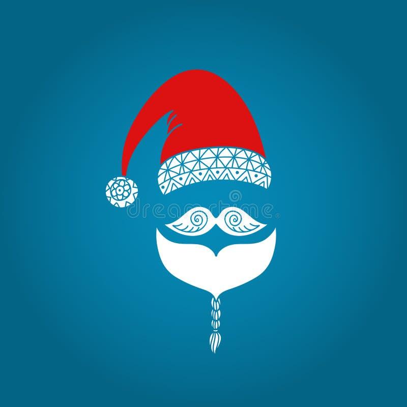 Święty Mikołaj kolorowa ikona Kapelusz, wąsy i broda, Ornamentacyjny wakacyjny projekt Wektorowa ilustracja EPS10 royalty ilustracja