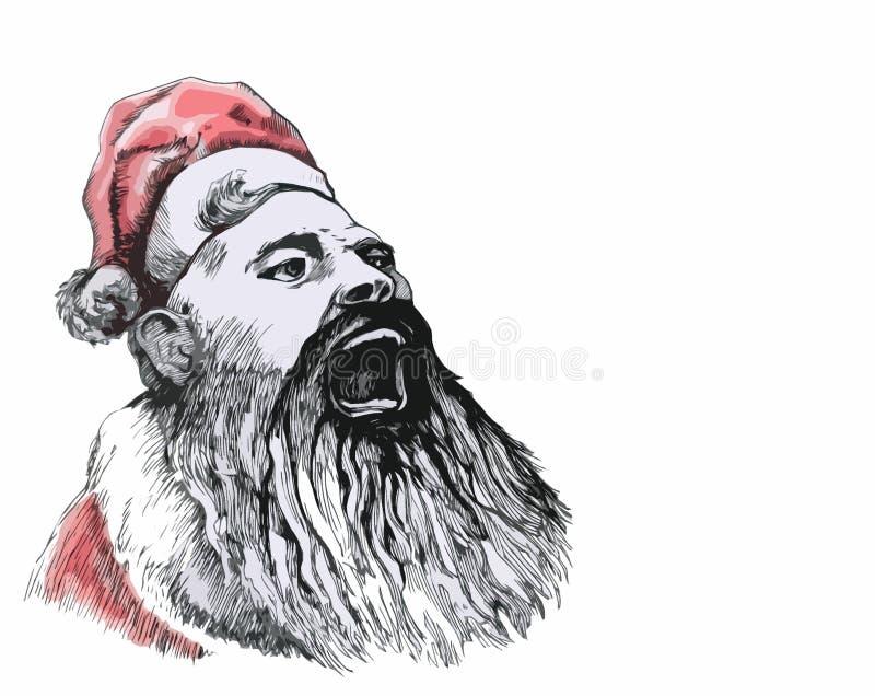 Święty Mikołaj krzyczy głośno gratulacje royalty ilustracja