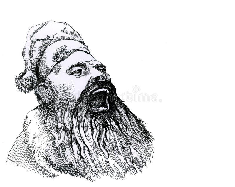 Święty Mikołaj krzyczy głośno gratulacje ilustracji