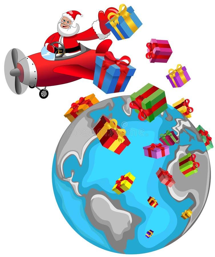 Święty Mikołaj Latający Samolotowy Bożenarodzeniowy świat ilustracja wektor