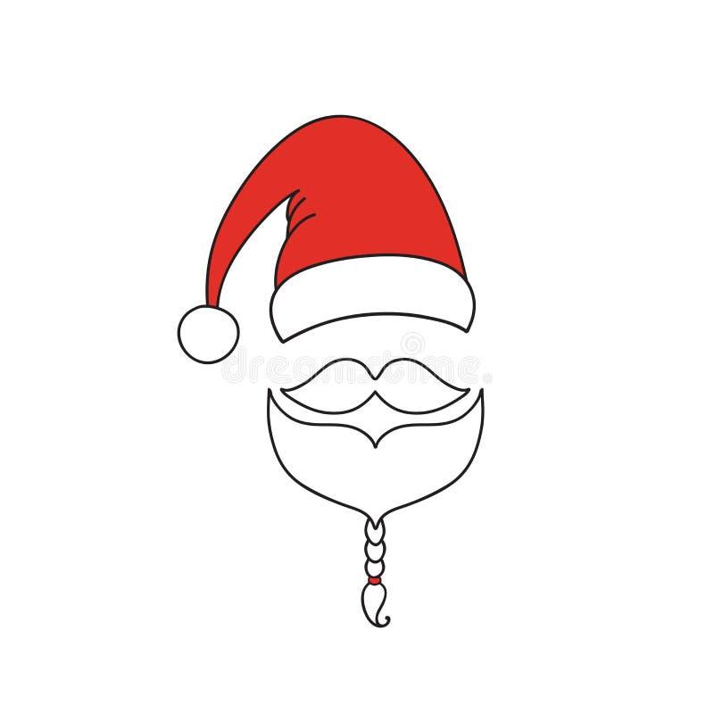 Święty Mikołaj linii ikona Kapelusz, wąsy i broda, Ornamentacyjny wakacyjny projekt Wektorowa ilustracja EPS10 ilustracja wektor