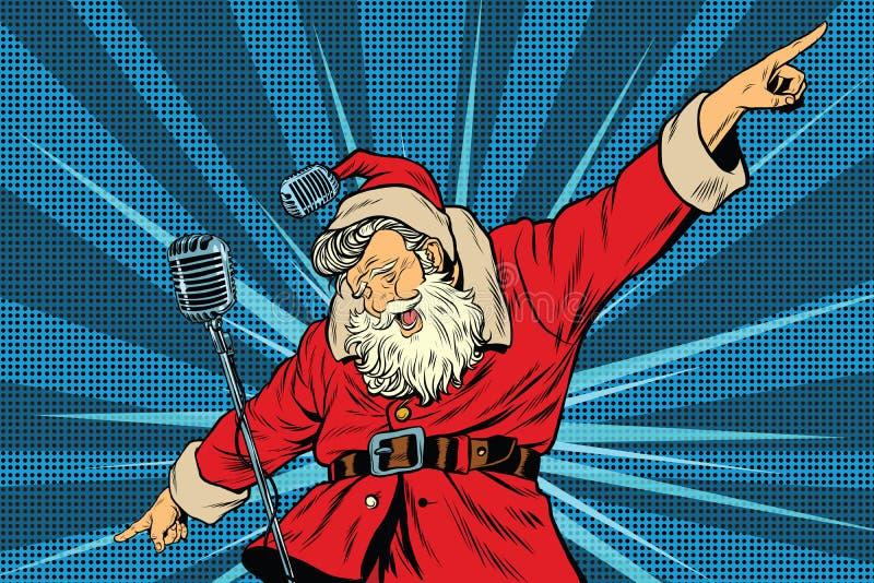 Święty Mikołaj megagwiazda piosenkarz na scenie royalty ilustracja