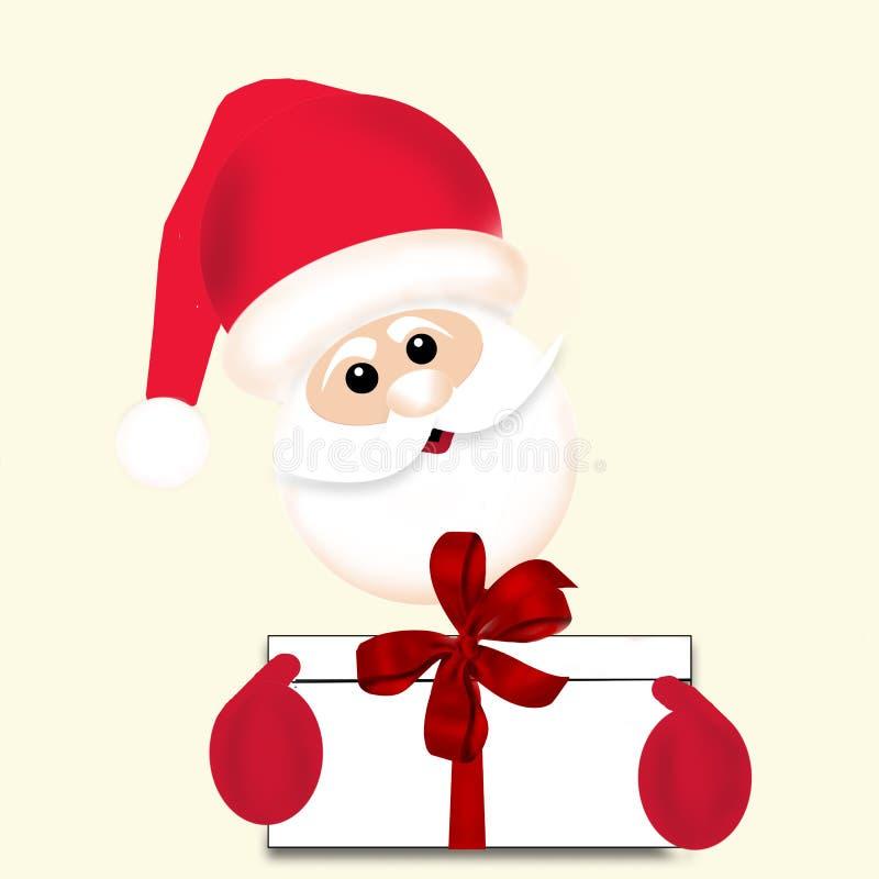 Święty Mikołaj mienia giftbox z czerwonym tasiemkowym łękiem - ilustracja royalty ilustracja