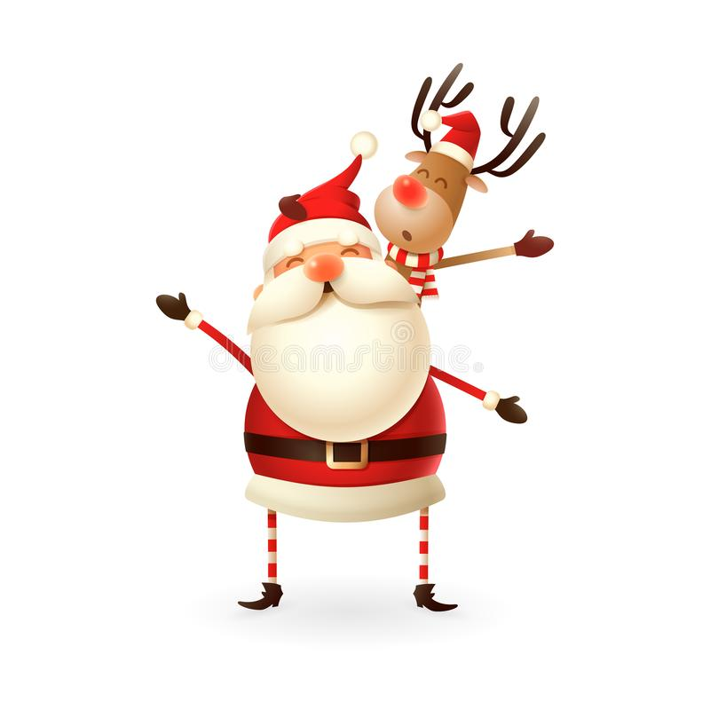 Święty Mikołaj mienia renifer na jego potoczku - Szczęśliwa śliczna ilustracja royalty ilustracja
