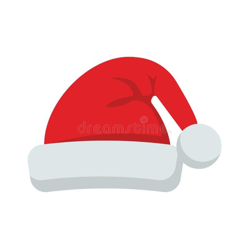 Święty Mikołaj mieszkania stylu kapeluszowa ikona również zwrócić corel ilustracji wektora ilustracja wektor
