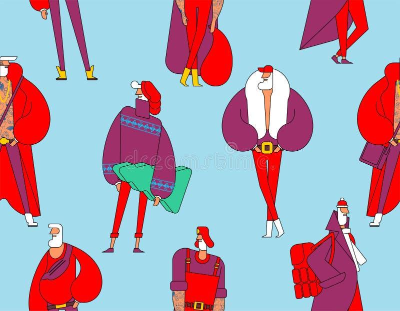 Święty Mikołaj mody wzór Modny nowego roku dziad lub ilustracja wektor