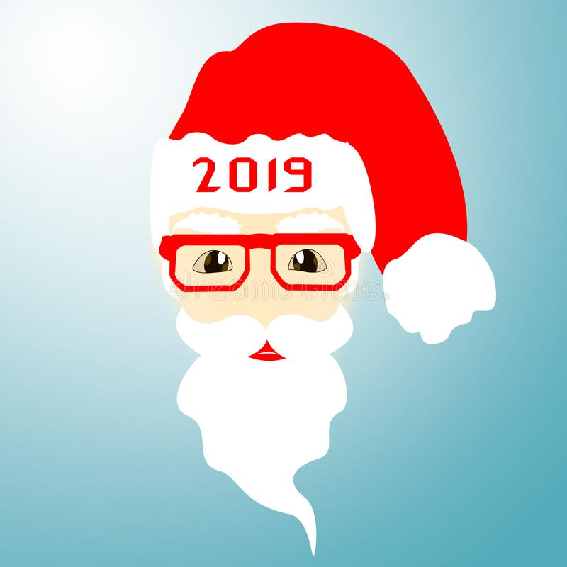 Święty Mikołaj na błękitnym tle Boże Narodzenia, nowy rok, wigilia ilustracja wektor