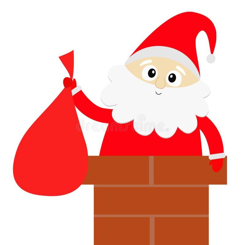Święty Mikołaj na dachowym kominie Czerwony kapelusz, kostium, broda, pasowa klamra, torba wesołych Świąt Ślicznego kreskówki kaw ilustracja wektor
