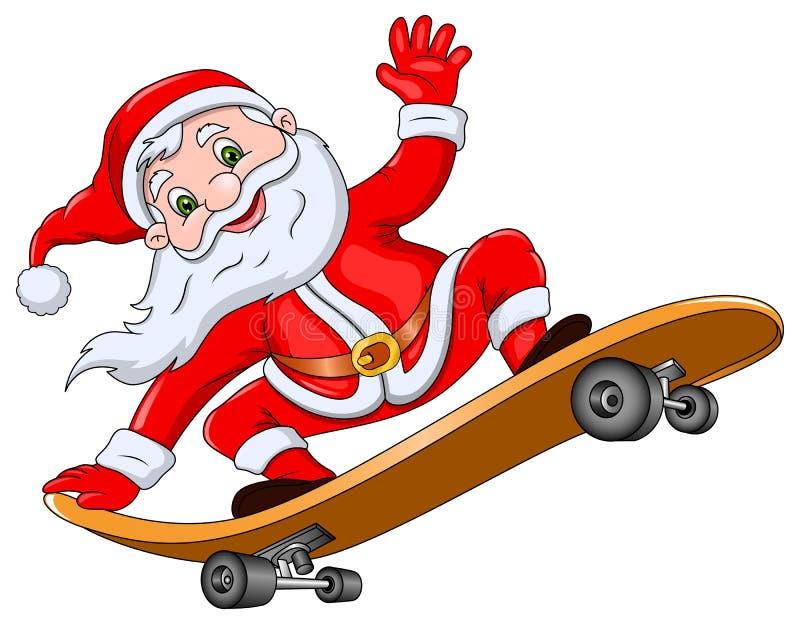 Święty Mikołaj na deskorolka ilustracji