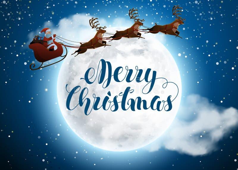 Święty Mikołaj na jeleniej jazdie na saniu z reniferami pojęcie dla powitania lub pocztowej karty Śnieżny Duży i ilustracji