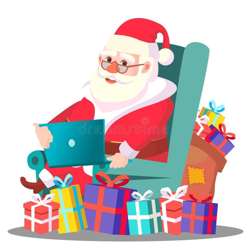 Święty Mikołaj Na krześle Z laptopu wektorem ilustracja ilustracja wektor