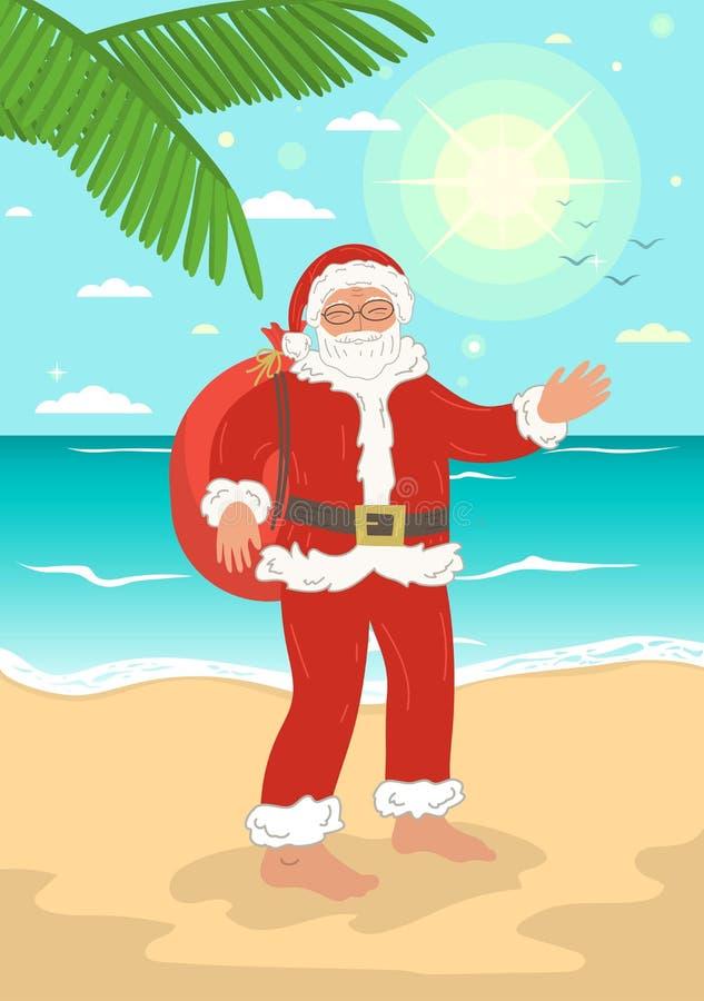 Święty Mikołaj na lata morza plaży ilustracji