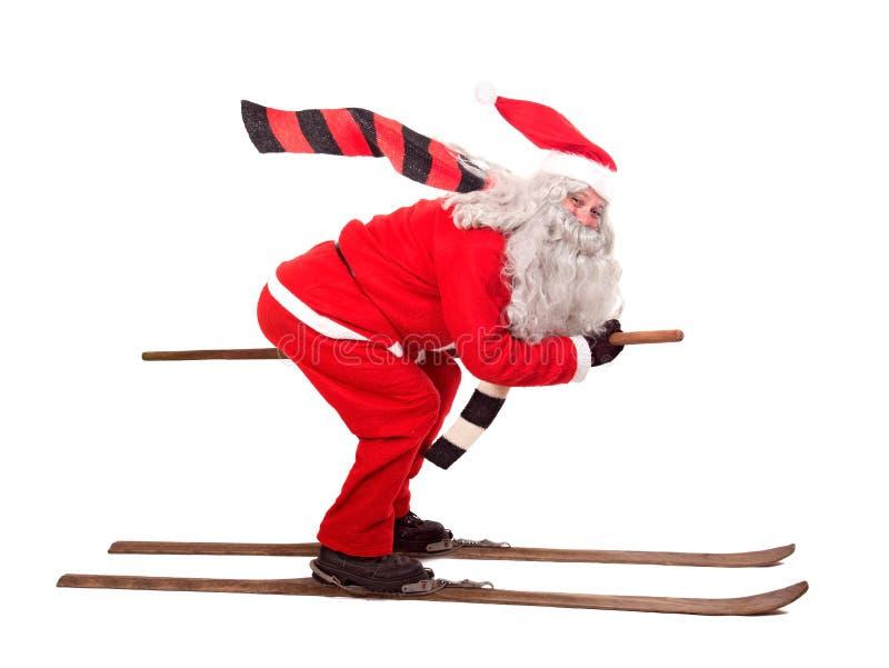 Święty Mikołaj na nartach fotografia stock