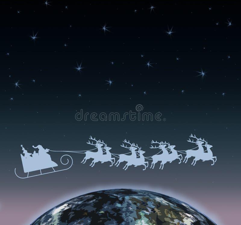 Święty Mikołaj na saniu z reniferem nad światem ilustracja wektor
