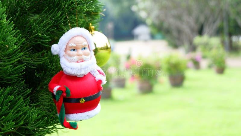 Święty Mikołaj na sośnie, tło boże narodzenia z Santa Claus zdjęcie stock