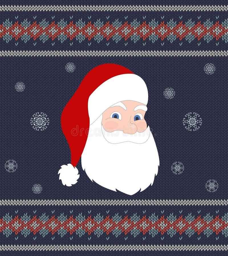 Święty Mikołaj na tle trykotowa tekstura ilustracji