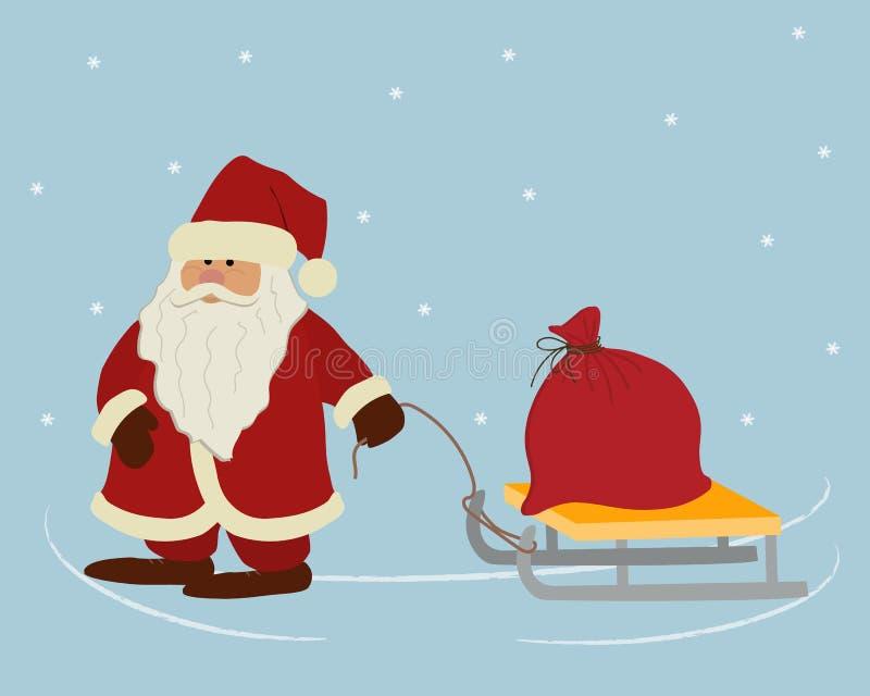Święty Mikołaj niesie czerwoną torbę z prezentami na saniu ilustracji