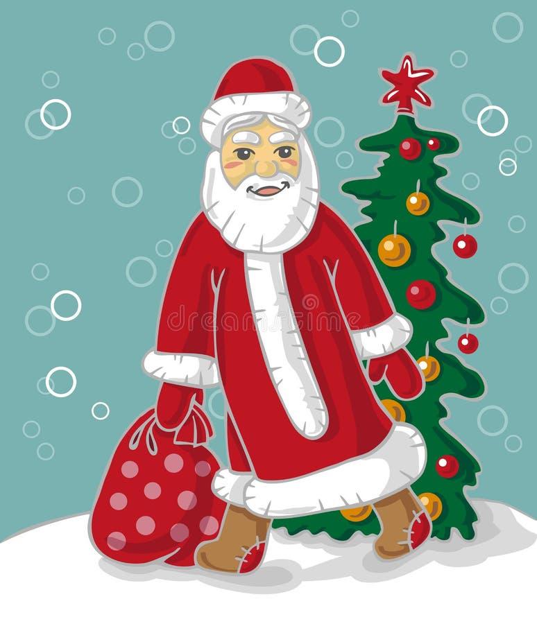 Święty Mikołaj niesie torbę royalty ilustracja
