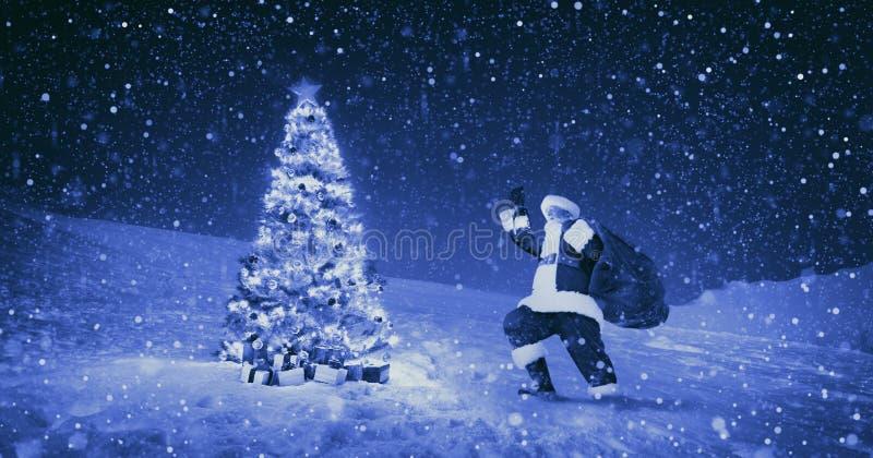 Święty Mikołaj nocy bożych narodzeń sezonu Snowing pojęcie fotografia royalty free