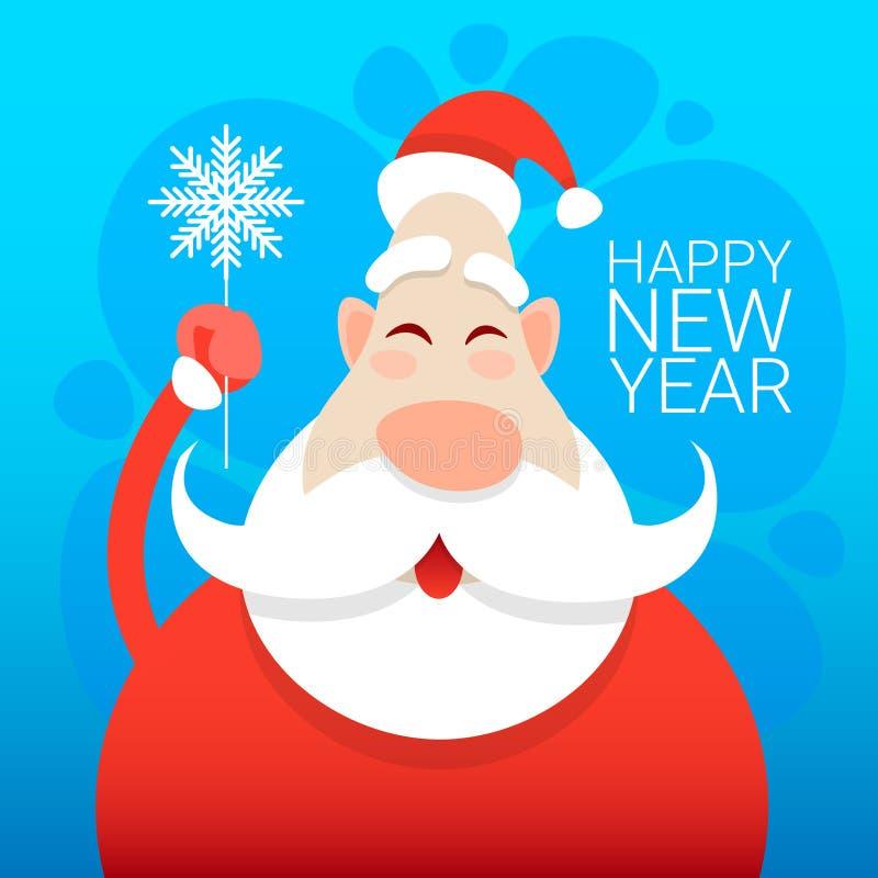 Święty Mikołaj nowego roku kartka z pozdrowieniami świętowania Bożenarodzeniowy Wakacyjny Szczęśliwy sztandar ilustracji