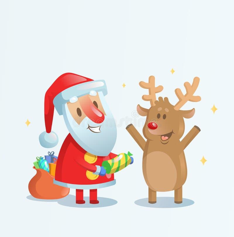Święty Mikołaj odświętność z jego reniferowym przyjacielem Cartoon kartki bożonarodzeniowa i Płaska wektorowa ilustracja Odizolow ilustracji