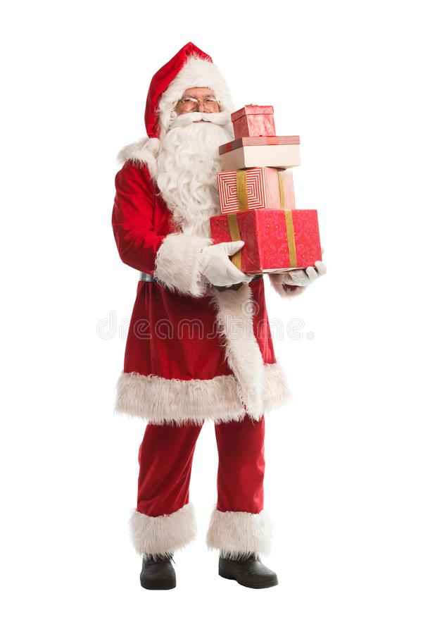 Święty Mikołaj odizolowywał na białym tle z pracy ścieżką zawierać dla łatwego odosobnienia, obrazy stock
