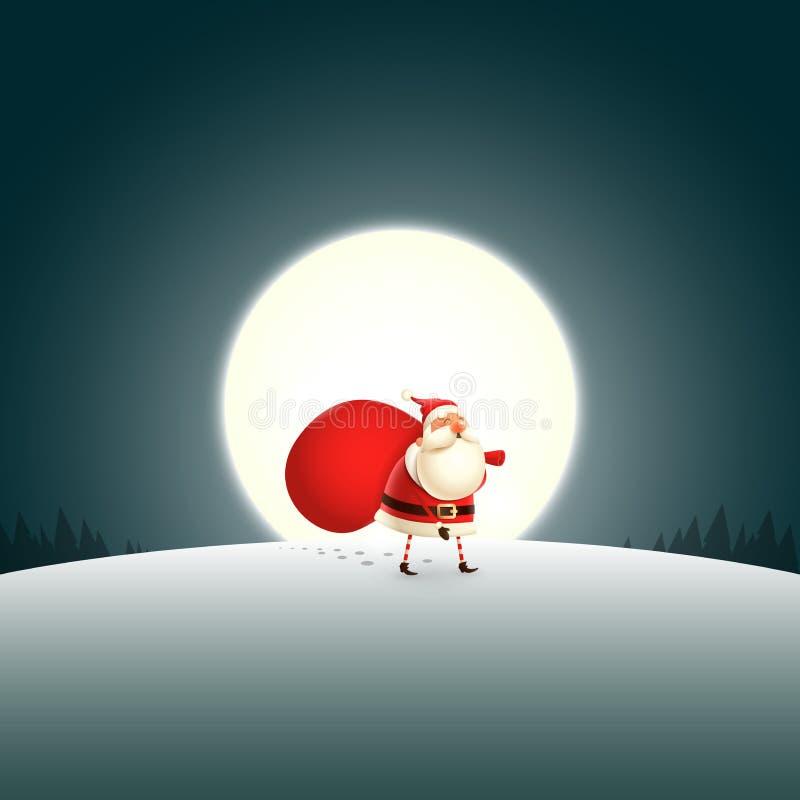 Święty Mikołaj odprowadzenie przy nocą samotnie royalty ilustracja