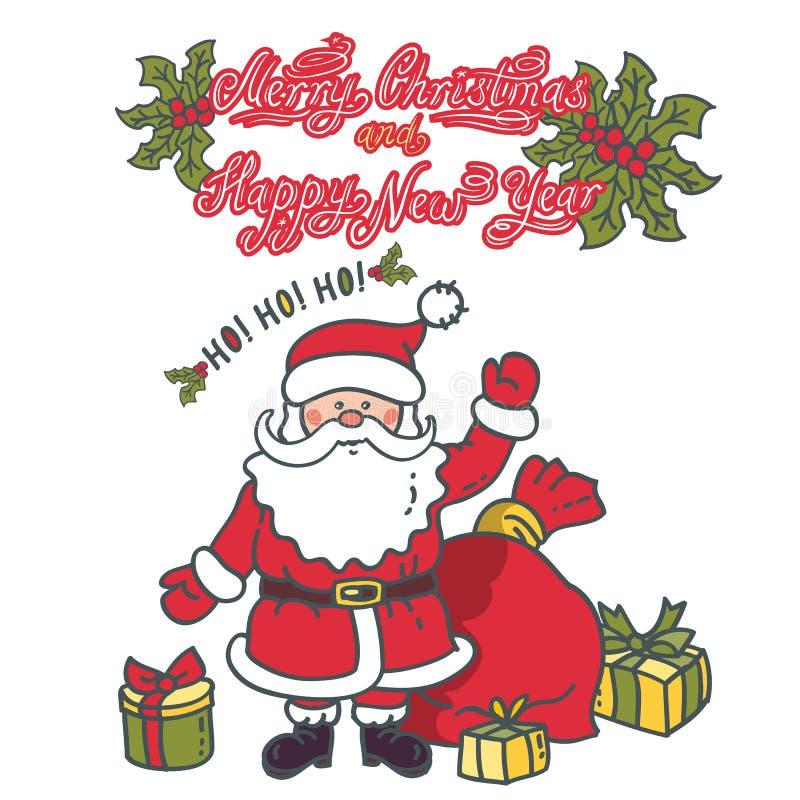 Święty Mikołaj postać z kreskówki z prezentami Wesoło boże narodzenia i Szczęśliwy nowy rok ilustracja wektor