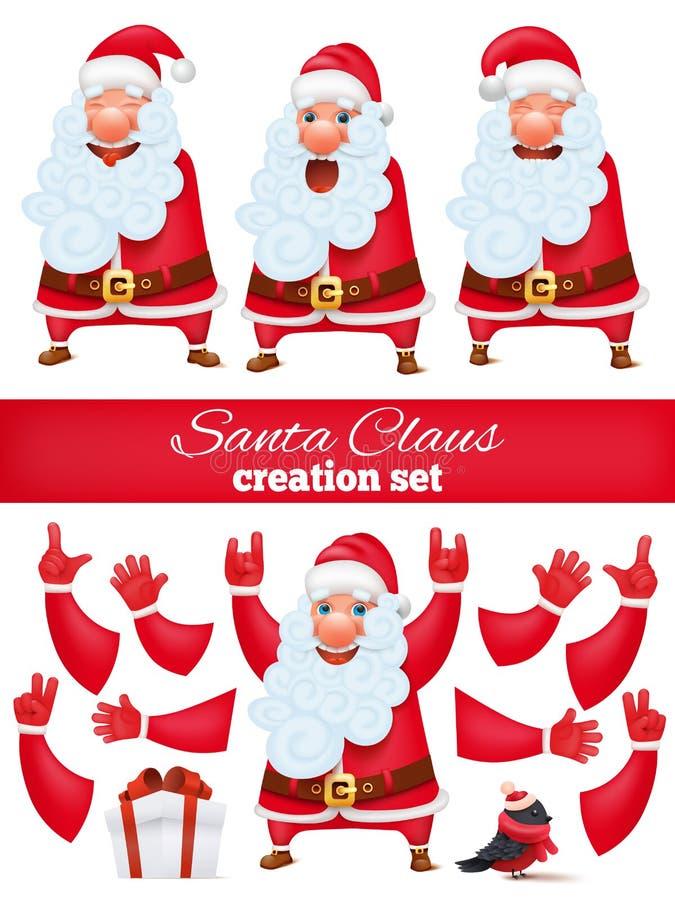 Święty Mikołaj postać z kreskówki tworzenia DIY set Kolekcja różnorodne emocje i gesty ilustracji