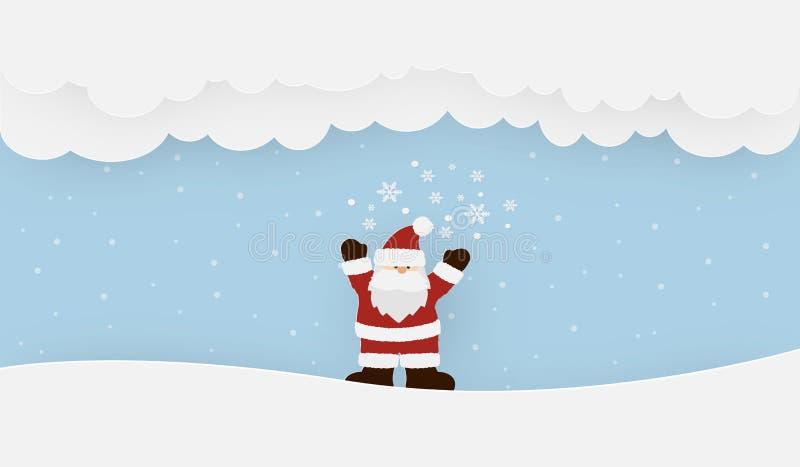 Święty Mikołaj pozycja na śniegu w zima sezonie ilustracji
