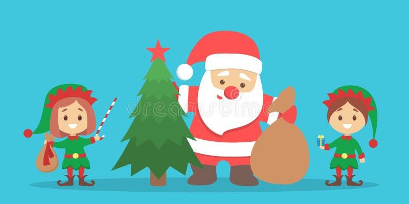 Święty Mikołaj pozycja z torbą pełno prezentów pudełka royalty ilustracja