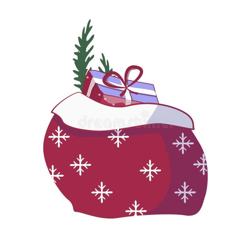 Święty Mikołaj prezenty w torbie Bożenarodzeniowe teraźniejszość grabiją, stos cukierki prezenta sackful i zabawa zaskakujący nag royalty ilustracja