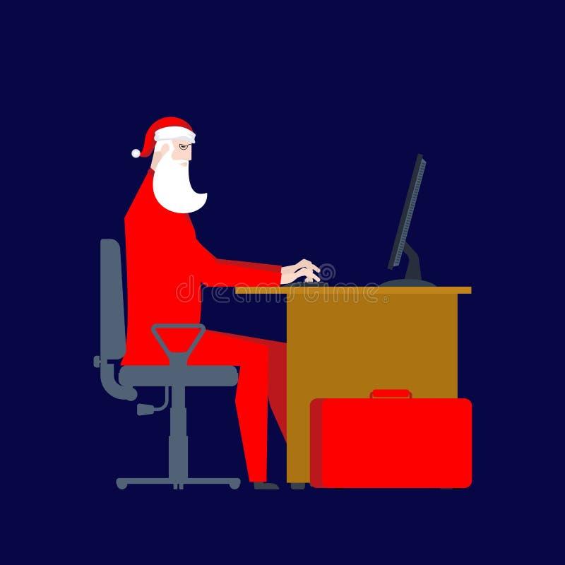 Święty Mikołaj przy pracą przy komputerem Boże Narodzenie praca Biznesmen San ilustracji