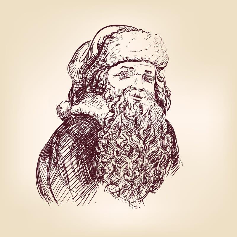 Święty Mikołaj ręka rysujący wektorowy llustration ilustracja wektor