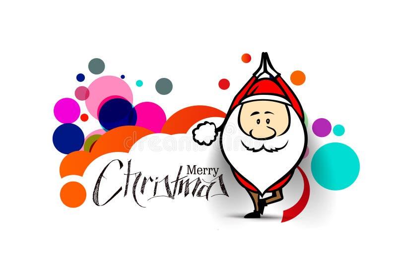 Święty Mikołaj robi joga, Bożenarodzeniowa wektorowa ilustracja ilustracji
