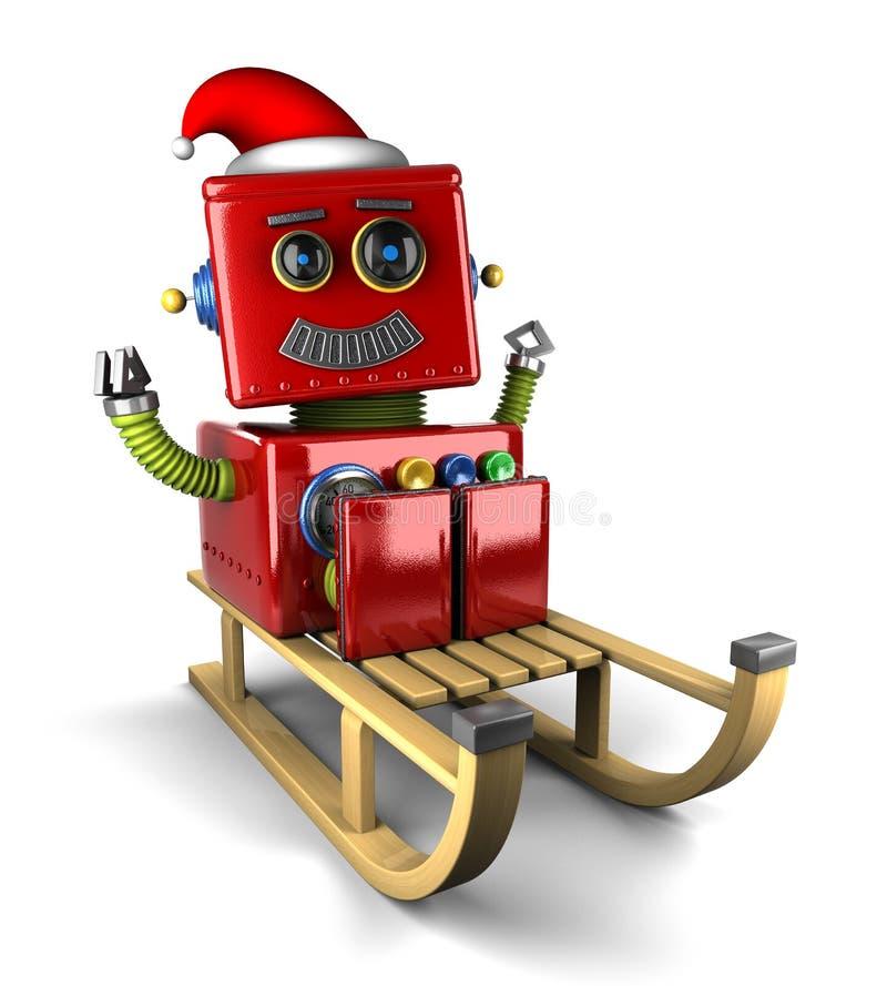 Święty Mikołaj robot na saniu ilustracji