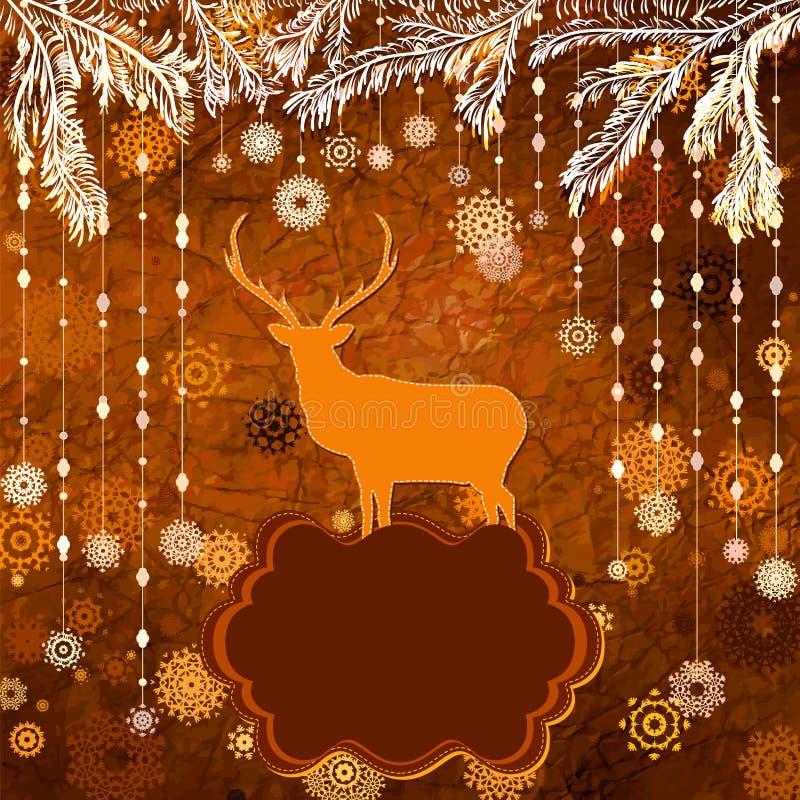Święty Mikołaj rocznika Jelenia kartka bożonarodzeniowa. EPS 8 ilustracji