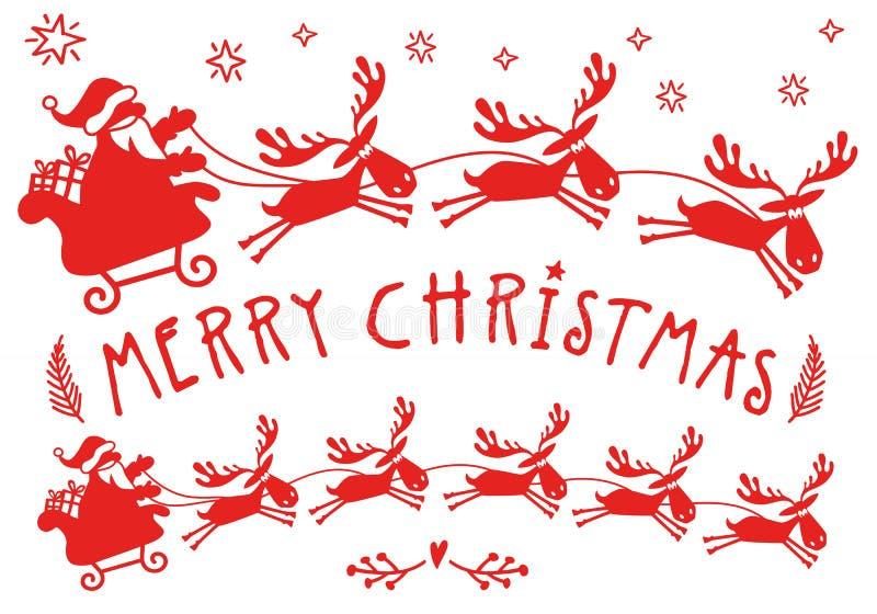 Święty Mikołaj sanie z łosiem amerykańskim, Bożenarodzeniowy renifer, wektor ilustracji