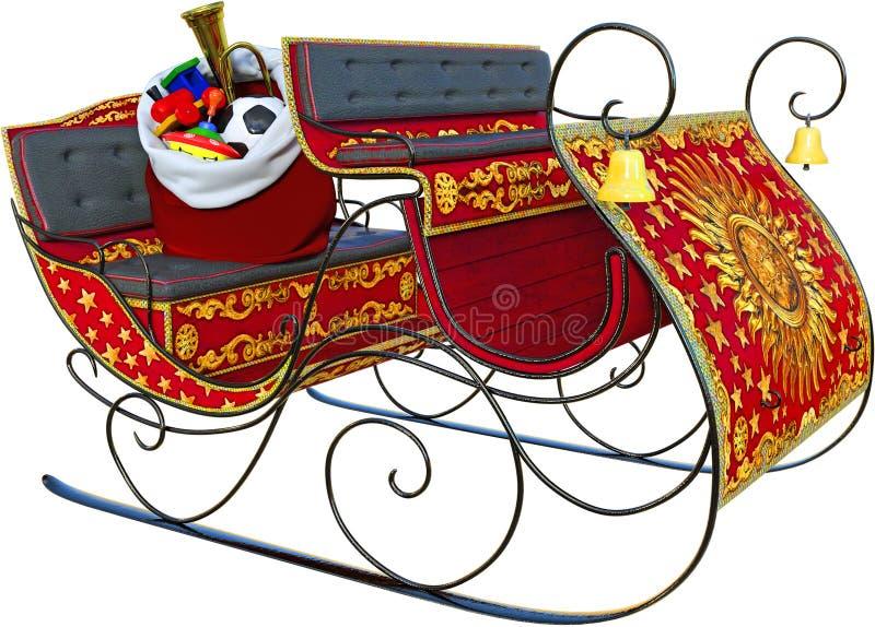 Święty Mikołaj sanie, zabawki, Odizolowywać obraz royalty free