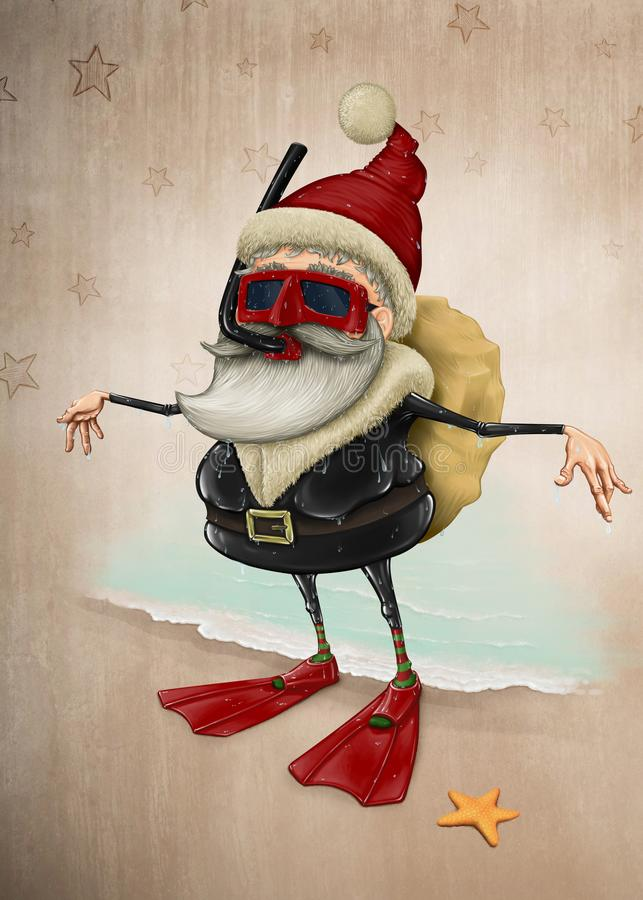 Święty Mikołaj snorkeling ilustracji