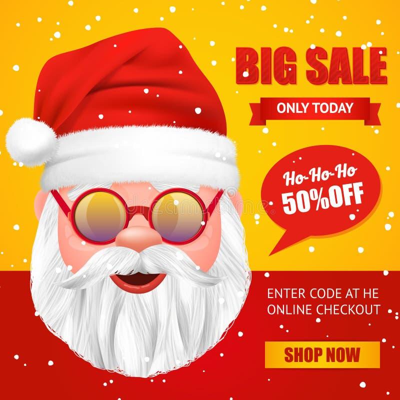 Święty Mikołaj sprzedaży Bożenarodzeniowy plakat ilustracji