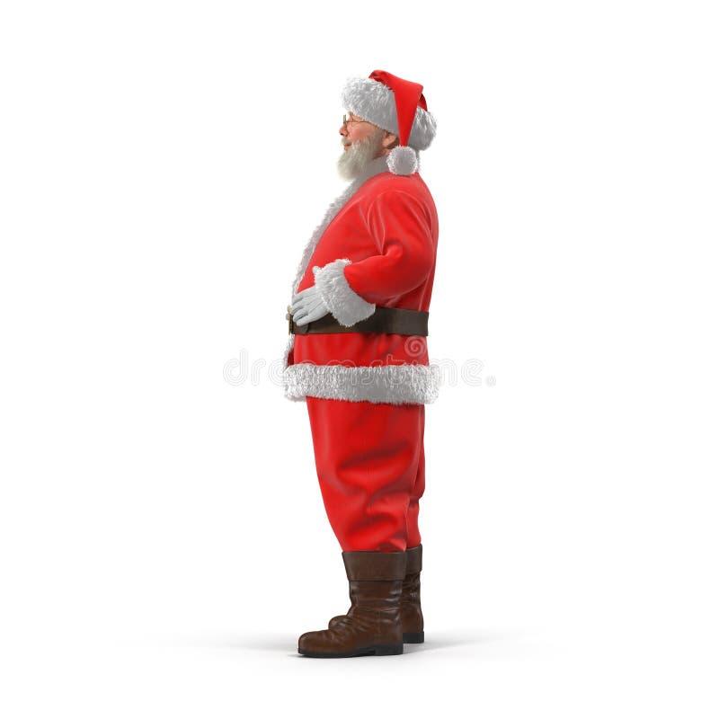 Święty Mikołaj stoi pełnego długość portret Odizolowywający na bielu Boczny widok ilustracja 3 d ilustracji